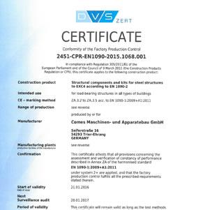Certificat - Conformity of the Factory Production Control 2451-CPR-EN1090-2015.1068.001