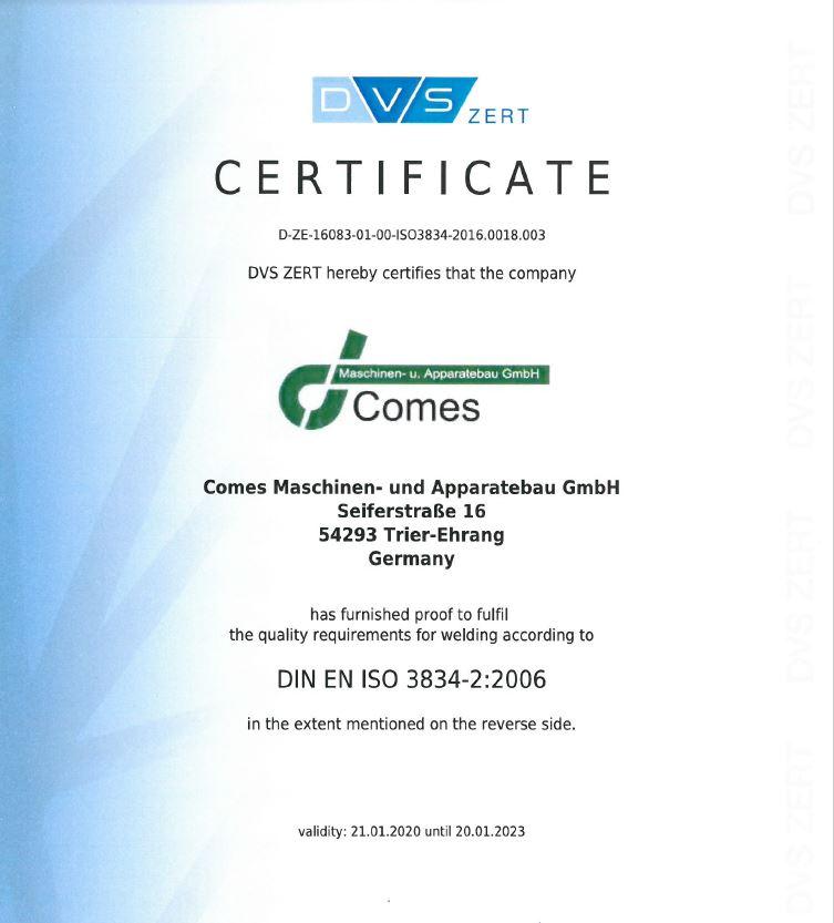 Certificate - DIN EN ISO 3834-2:2006