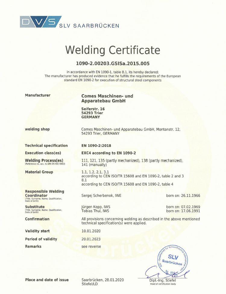 Welding Certificate - 1090-2.00203.GSISa.2015.002