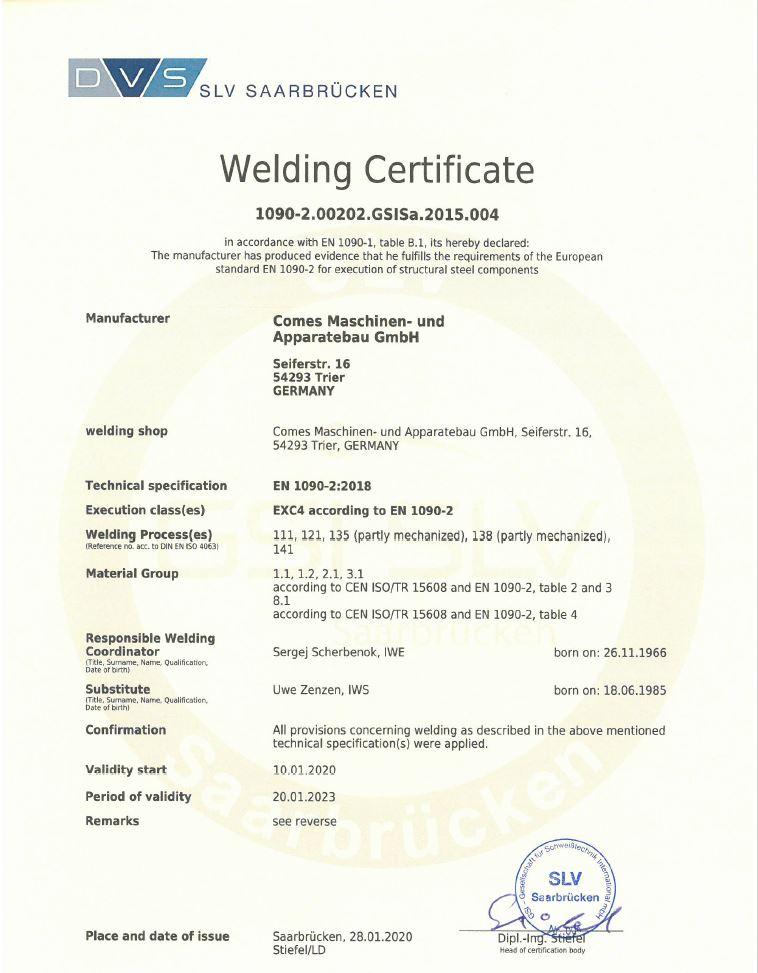 Welding Certificate - 1090-2.00203.GSISa.2015.001