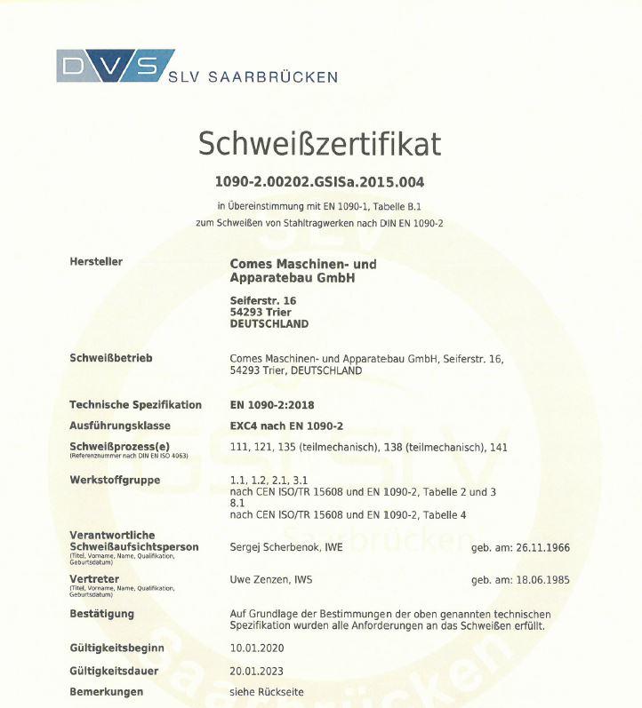 Herstellerqualifikation von Stahlbauten nach DIN 18800-7:2008-11 Klasse E