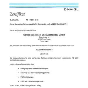 Überprüfung einer Fertigungsstätte für Druckgeräte nach AD 2000-Merkblatt HP 0