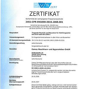 Herstellerqualifikation von Stahlbauten nach DIN 18800-7:2008-11 Klasse E Zertifikat - Konformität der werkseigenen Produktionskontrolle 2451-CPR-EN1090-2015.1068.001