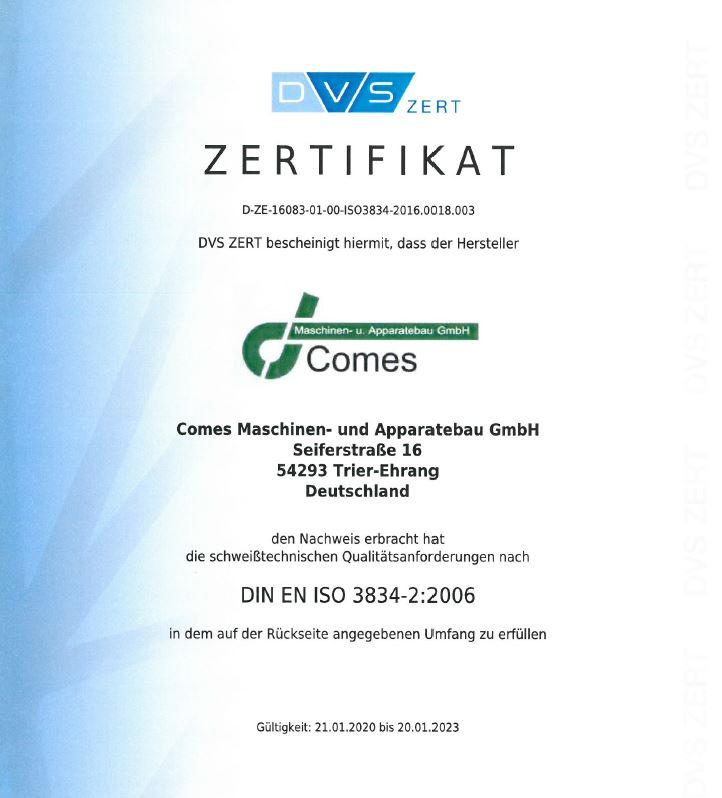 Zertifikat - schweißtechnische Qualitätsanforderungen nach DIN EN ISO 3834-2:2006